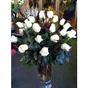 Two dozen white roses. R17