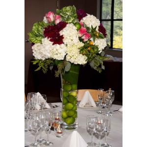 tall centerpiece with dahlias. V128