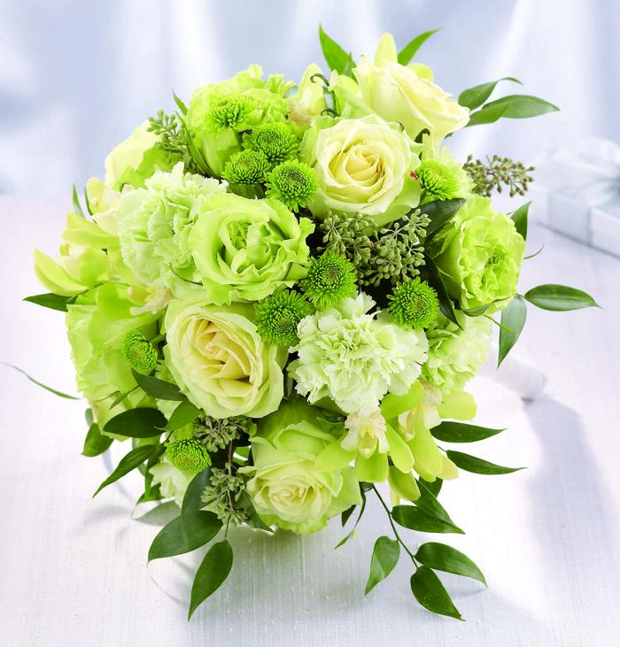 Wedding Flowers White Green : White and green wedding bouquet with roses wb