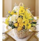 Basket of yellow lilies & daisies. B24