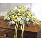 Yellow and white casket spray.SC13