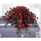 Red rose casket spray.SC1