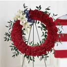 red, white and blue wreath. SW2