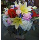 dahlias and roses arrangement. V56